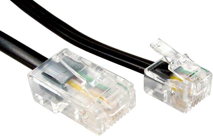 Rj11 Männlich Stecker Zum 4 Draht Rj45 Männlich Stecker Flach Kabel Anschlusskabel 5 M Schwarz