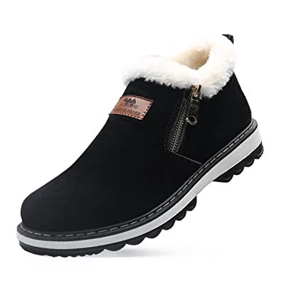 Mens Winter Soft Plush Warm Zipper Snow Boots Breathable Non-slip Wear-resistant Outdoor Shoes
