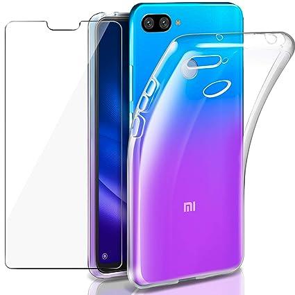Leathlux Funda + Protector de Pantalla para Xiaomi Mi 8 Lite, Transparente TPU Silicona [Funda + Cristal Templado] Ultra Fino Vidrio Templado 9H ...