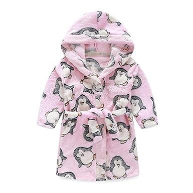 20427de270 Amazon.com  Kids Hooded Plush Robe Soft Bathrobe Cartoon Bathrobe ...