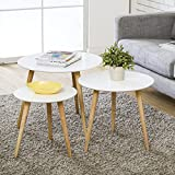 Wood Coffee Table Round Set of 3 Modern Decor End Side Table Night Stand Table Nesting Corner Table Telephone Sofa Tea Table,White
