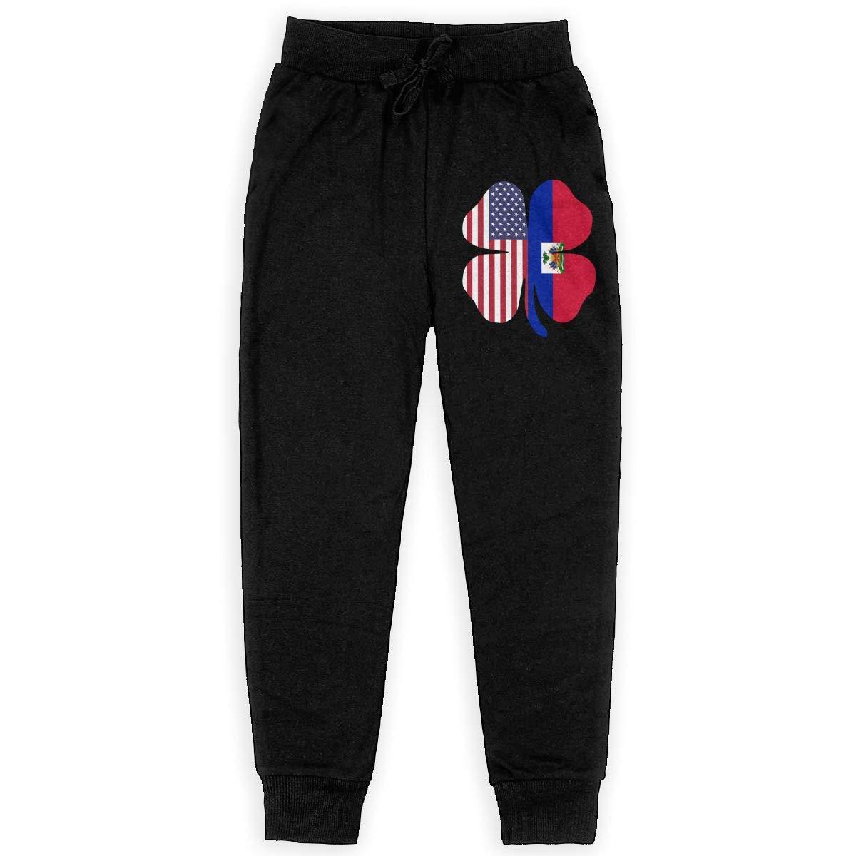 MAOYI/&J6 Haiti Flag Long Sweatpants Teenager Boys Girls Casual Pants with Pockets