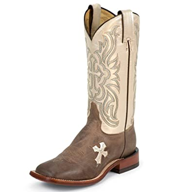 """Womans Guadalupe Tan 12"""" height TC1001L  Foot Tan Tuscan Goat  Pullon Western Boots  Beige Cowboy Leather Boot  Made In USA"""