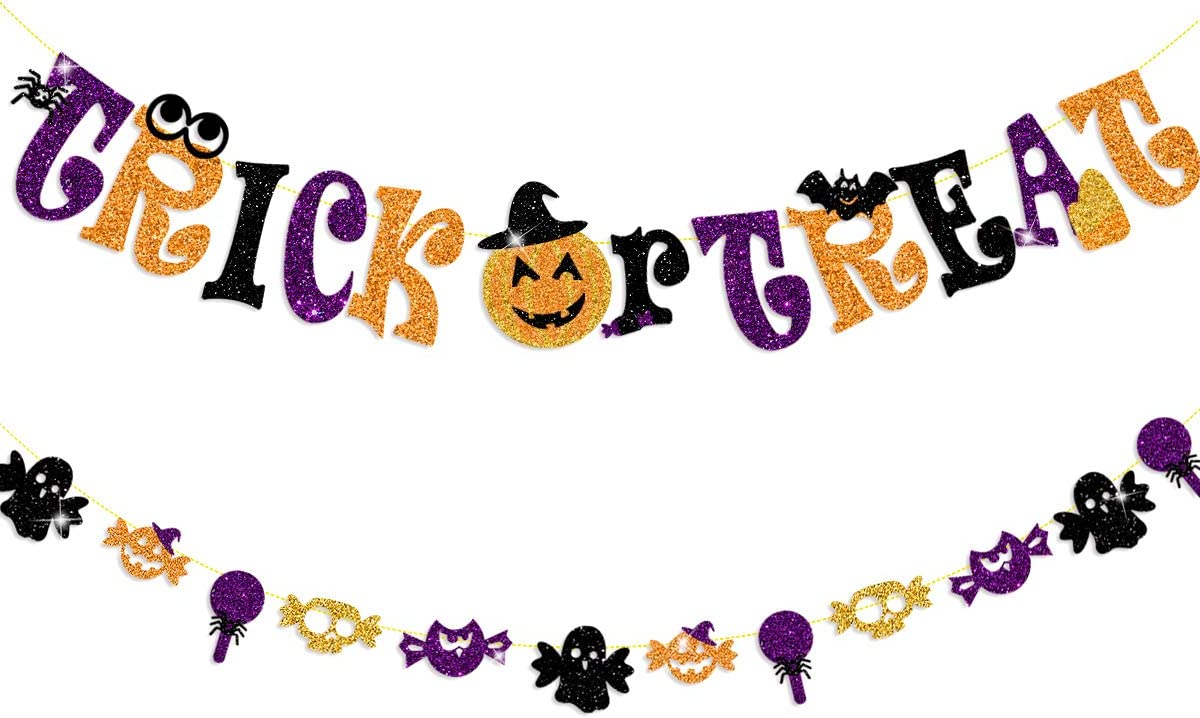 Halloween Trick or Treat Banner Party Decorations Black Purple Gold Glitter Bunting Garland with Pumpkin Bat Ghost Owl Skull Candy for Hallows Eve Happy Halloween Birthday Party Decor Supplies