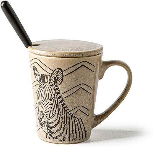 FIXQCY Patrón de Piel Animal Taza de cerámica 300ml Taza de café ...
