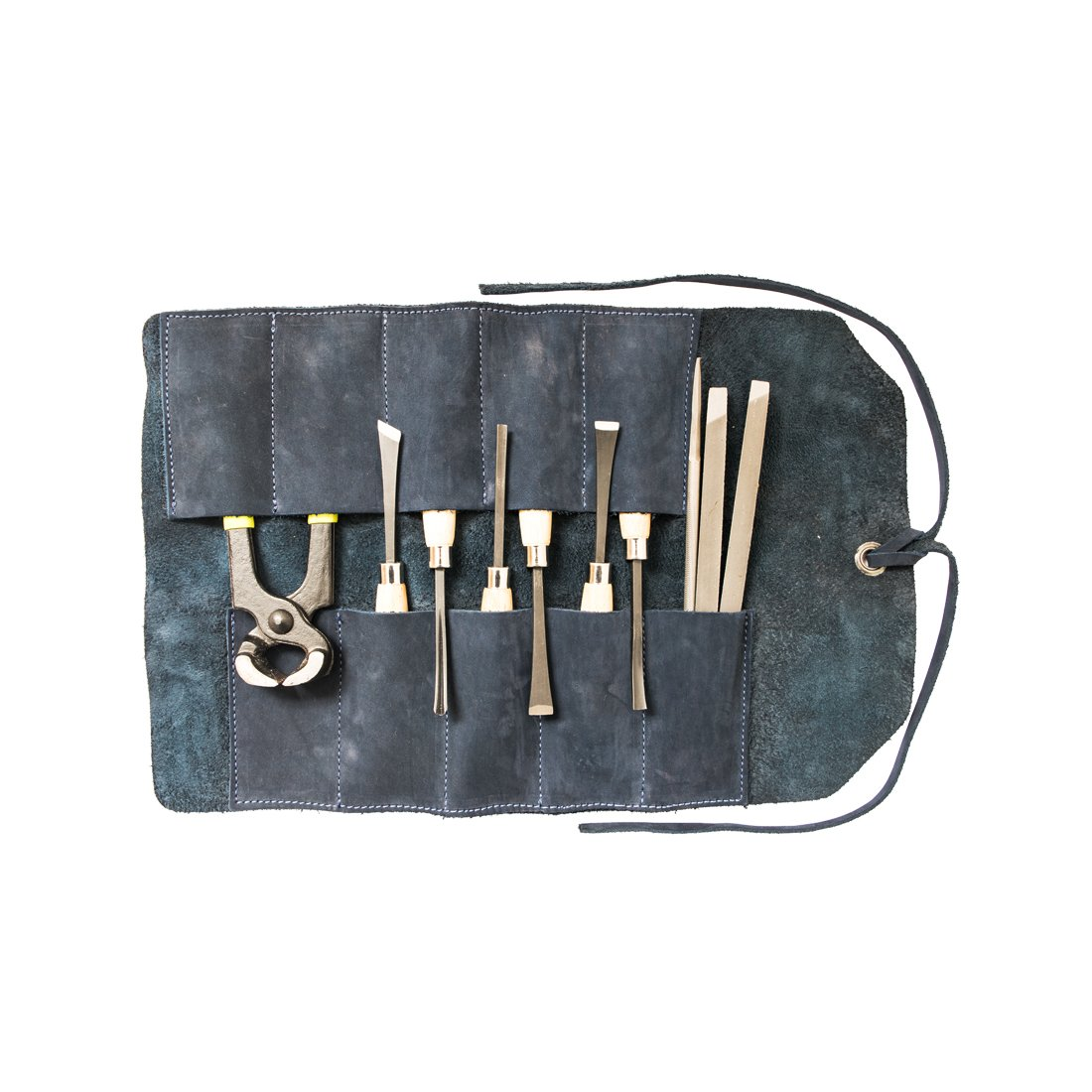 Leather Small Tool Roll Handmade by Hide Drink Blue Suede