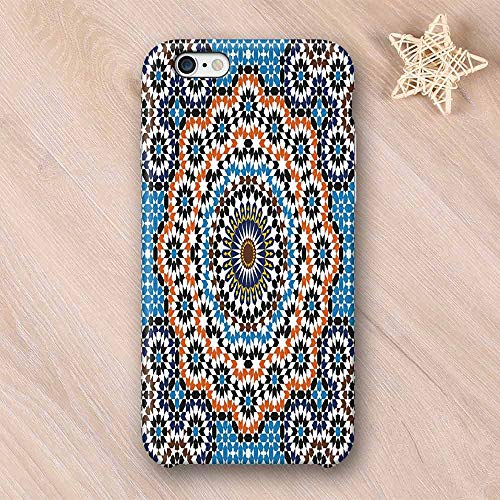 Vintage Wear Resisting Compatible with iPhone Case,Moroccan Ceramic Tile Inspired Floral Arabic Old Fashioned Cultural Mosaic Print Compatible with iPhone 7/8,iPhone 6/6s
