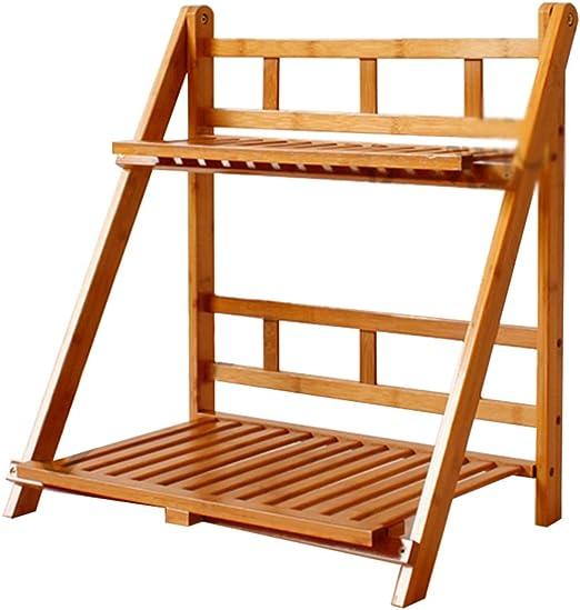 NANFENG 2/3 Niveles Plegable Estantería para Macetas Estante Decorativo de Bambú para Plantas Flores Estantería Escalera para Jardín Exterior Interior,50 * 32 * 53CM: Amazon.es: Hogar