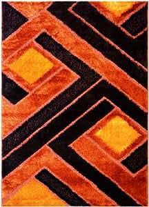 "Royal Collection Orange Brown Contemporary Design Shaggy Area Rug (6017) (4'x5'5"")"