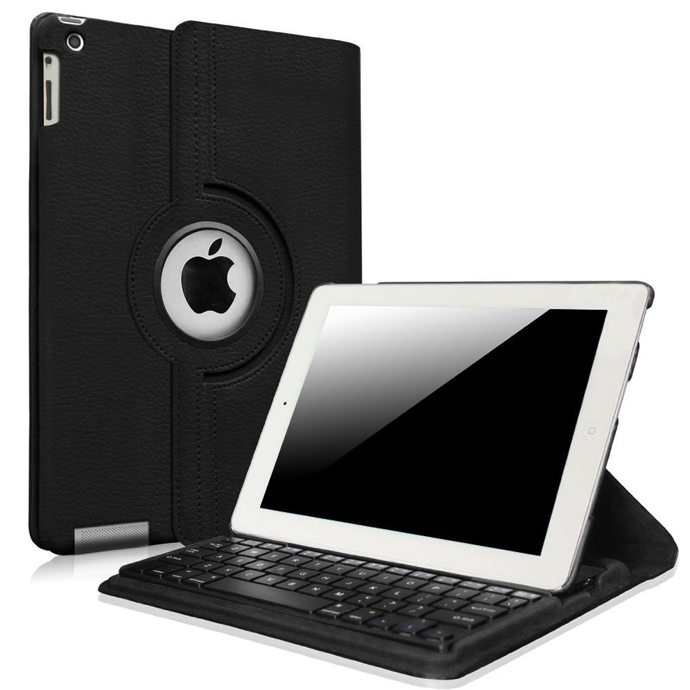 Fintie iPad 2/3/4 Keyboard Case - 360 Degree Rotating Stand Cover with Built-in Wireless Bluetooth Keyboard for Apple iPad 2, iPad 3 & iPad with Retina Display (Black)