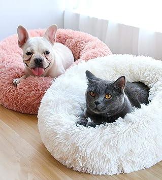 T-MIX Cama para Mascotas, Plush Donut Cama de Mascotas Nido colchón, para