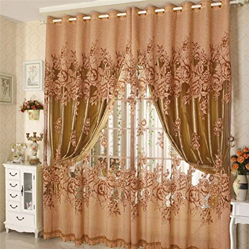 Jlong Vogue Flower Tulle Home Door Window Drape Panel Sheer Scarf Valance (Luxury Window Valance)