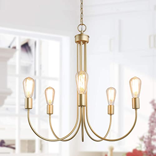 KSANA Gold Chandeliers for Dining Room, 5-Light Modern Chandelier for Bedroom, Living Room, Foyer and Entryway