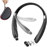 Beartwo Lightweight Retractable Bluetooth Headphones (Black Matte)