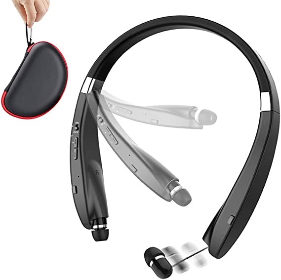 Amazon Com Foldable Bluetooth Headset Beartwo Lightweight Retractable Bluetooth Headphones For Sports Exercise Noise Cancelling Stereo Neckband Wireless Headset With Carry Case