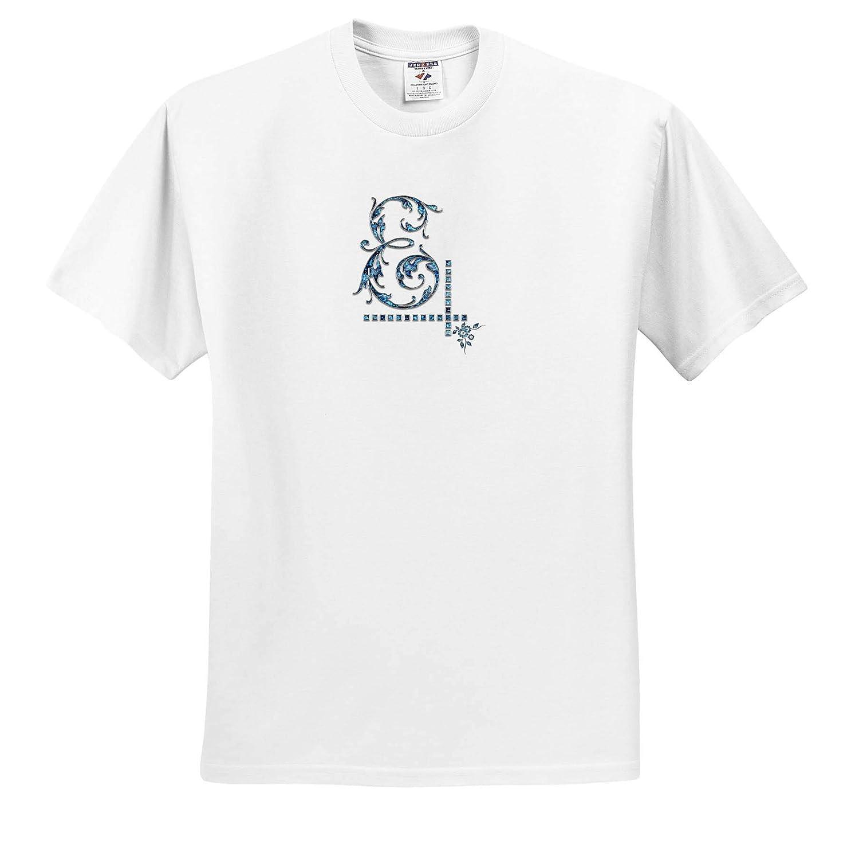 Nice Initial E 3dRose Alexis Design T-Shirts Image of Blue Gemstone Impressive Monogram Monogram Image of Blue gem