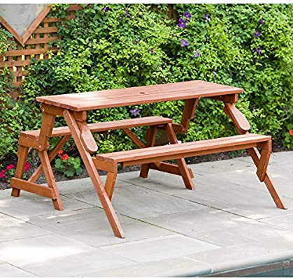 Leisure Season Folding Picnic Table and Bench, Solid Wood, Decay Resistant