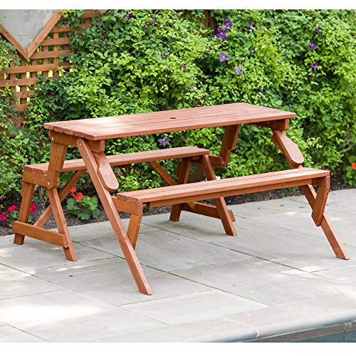 Leisure Season FPTB7104 Convertible Picnic Table and Garden Bench Outdoor Folding Furniture for Camping, Patio, Deck, Lawn, Beach, Yard, 4 Person Seating Capacity, Brown