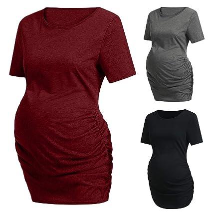 cc7c4230a414b Haluoo Womens Maternity Tunic Tops Short Sleeve Baseball Crew Neck  Flattering Side Ruching Pregnancy T-