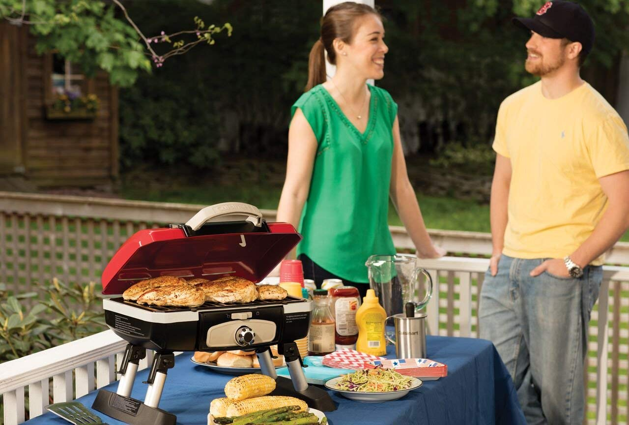 Cuisinart CGG-180T Petit Gourmet Portable Tabletop Gas Grill, Red (Renewed) by Cuisinart (Image #2)