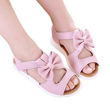 1f4f8c2f93 Image Unavailable. CYNDIE Girl Sandals Princess Shoes Bow Hollow Beach Shoes  Anti-Slip Baby Sandals