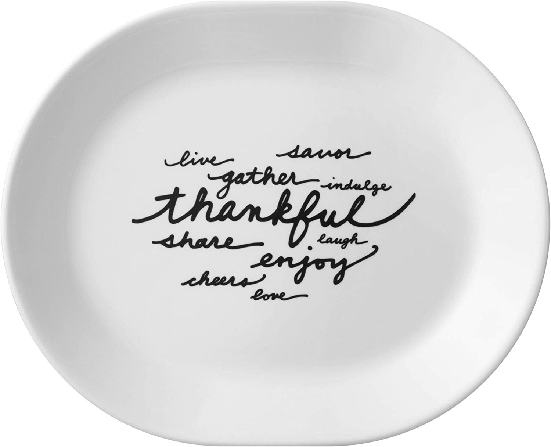 "Corelle Livingware Celebrations Thankful 12.25"" Serving Platter"