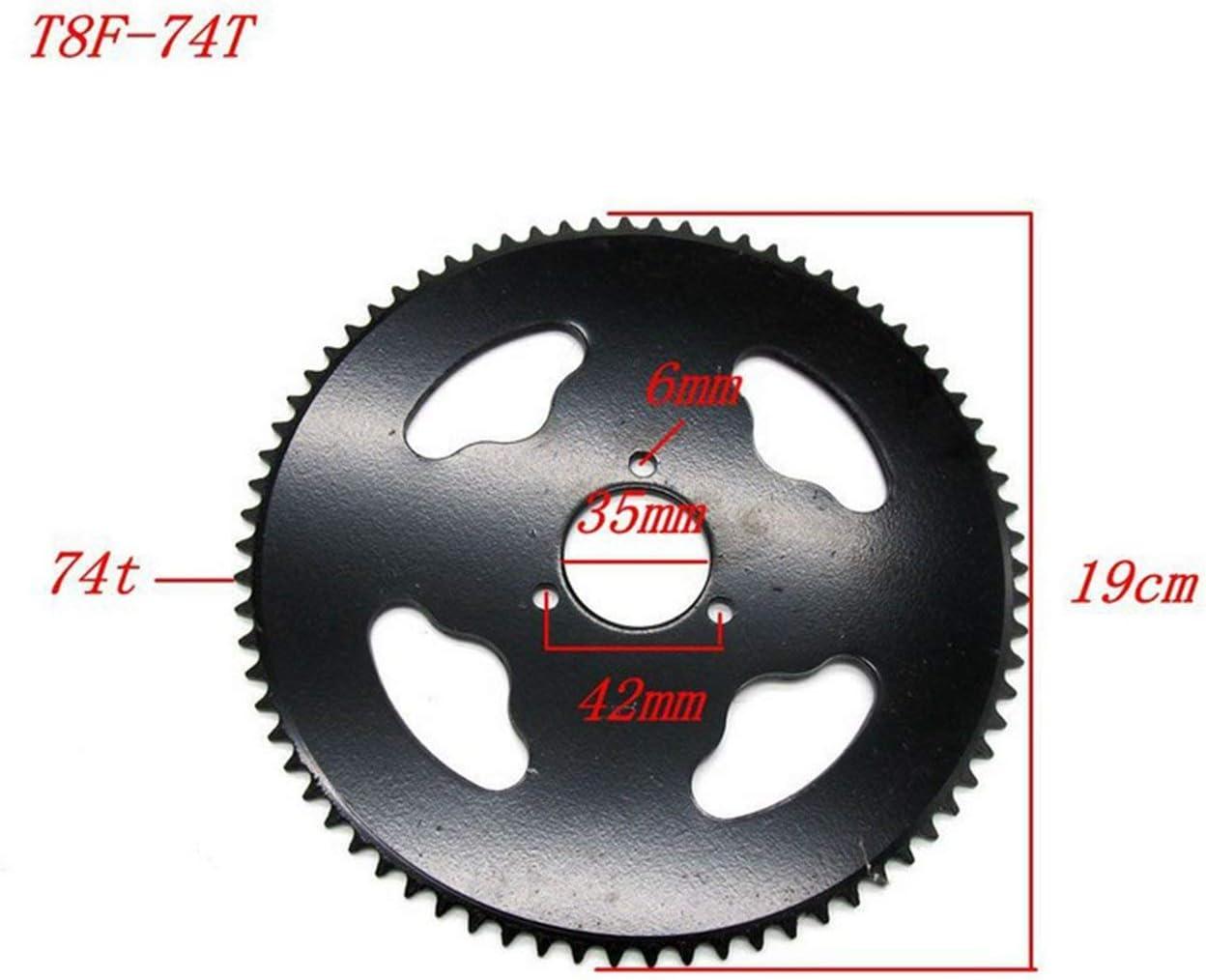 BIYI T8F-74 74 Tooth Motorrad Zahnkranz f/ür kleine 4-Wheeler Durable Metal Kettenrad Modified Motorrad Teil silber