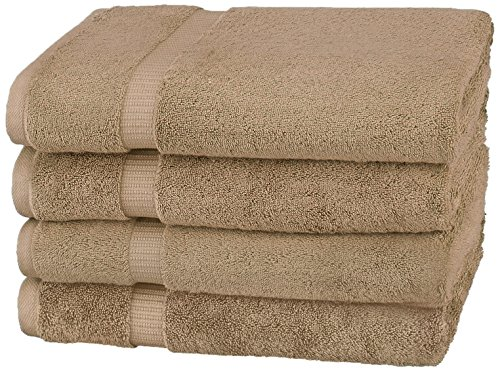 Organic Cotton Bath Towel (Pinzon Organic Cotton Blended Bath Towels - 4-Pack, Latte)