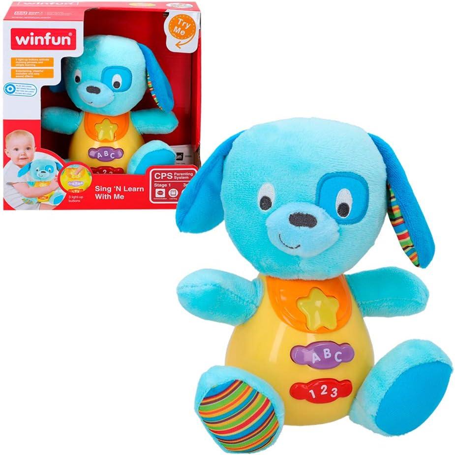 winfun - Peluche Perro para bebés que habla y luces de colores, Idioma: Español (85175)