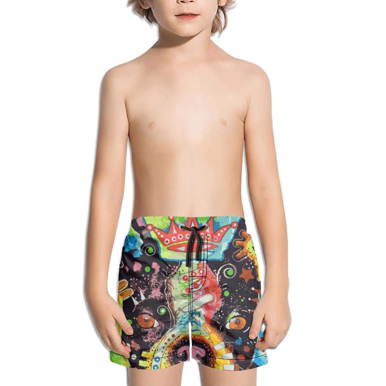FullBo Pug Queen pop Painted Art Little Boys Short Swim Trunks Quick Dry Beach Shorts