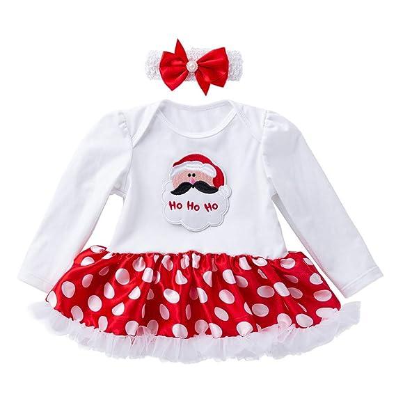 Tefamore Christmas Vestidos Bebe Niña, Recién Nacido Trajes Santa Impresión Mangas Larga Patchwork