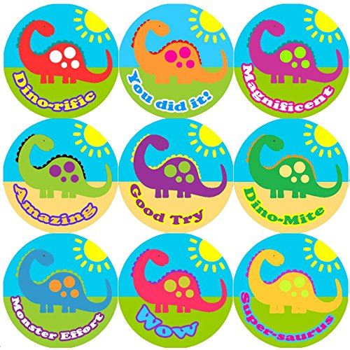 144 Big Colourful Dinosaur 30mm Children's Reward Stickers for Teacher, Parent, Sticker Stocker