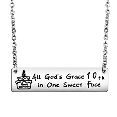 Zuo Bao Birthday Gifts For Her Happy Bar Necklace 10th 13th Sweet 16th 18th 21st