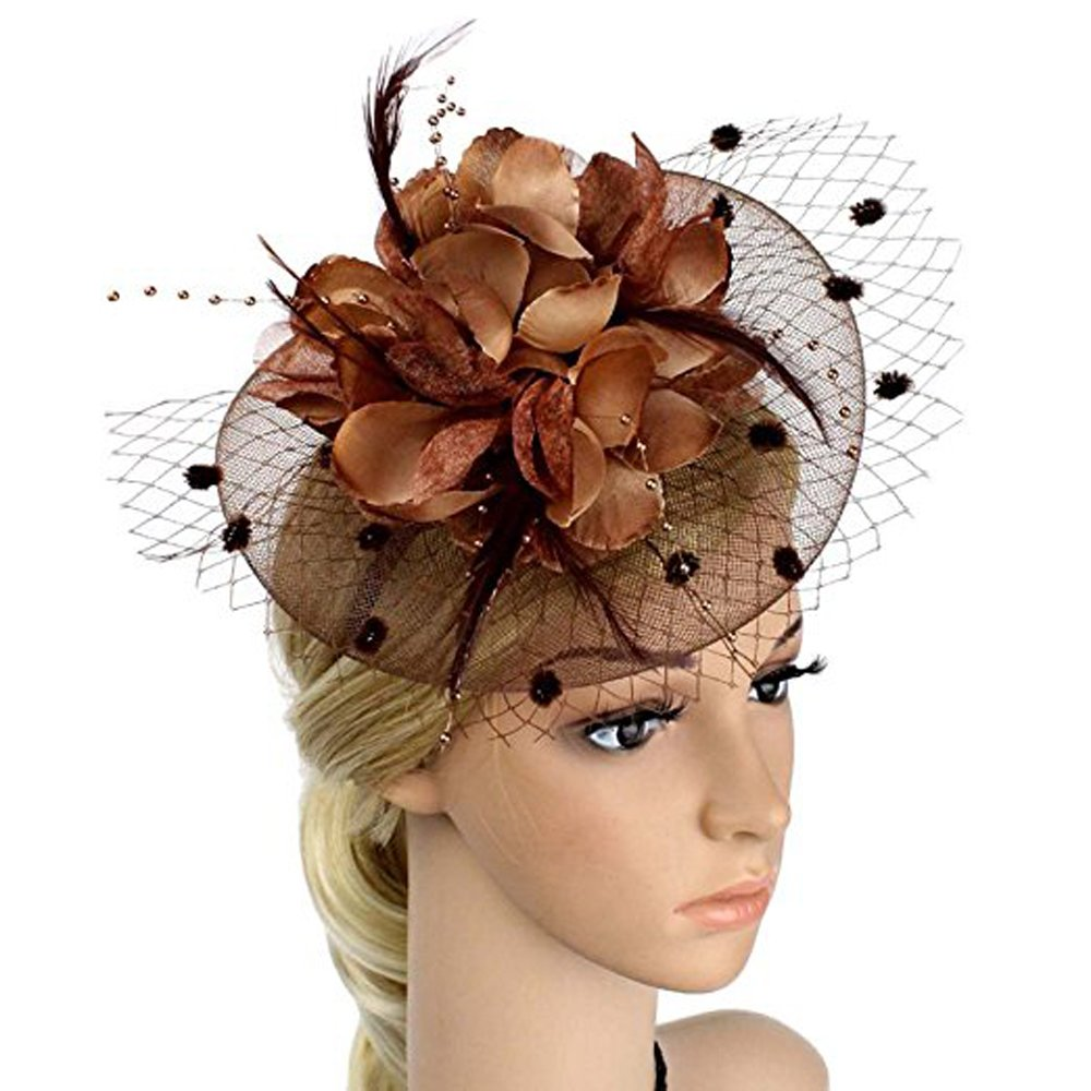 Big Flower Headband Netting Mesh Hair Band Cocktail Hat Party Fascinator, Coffee, One Size