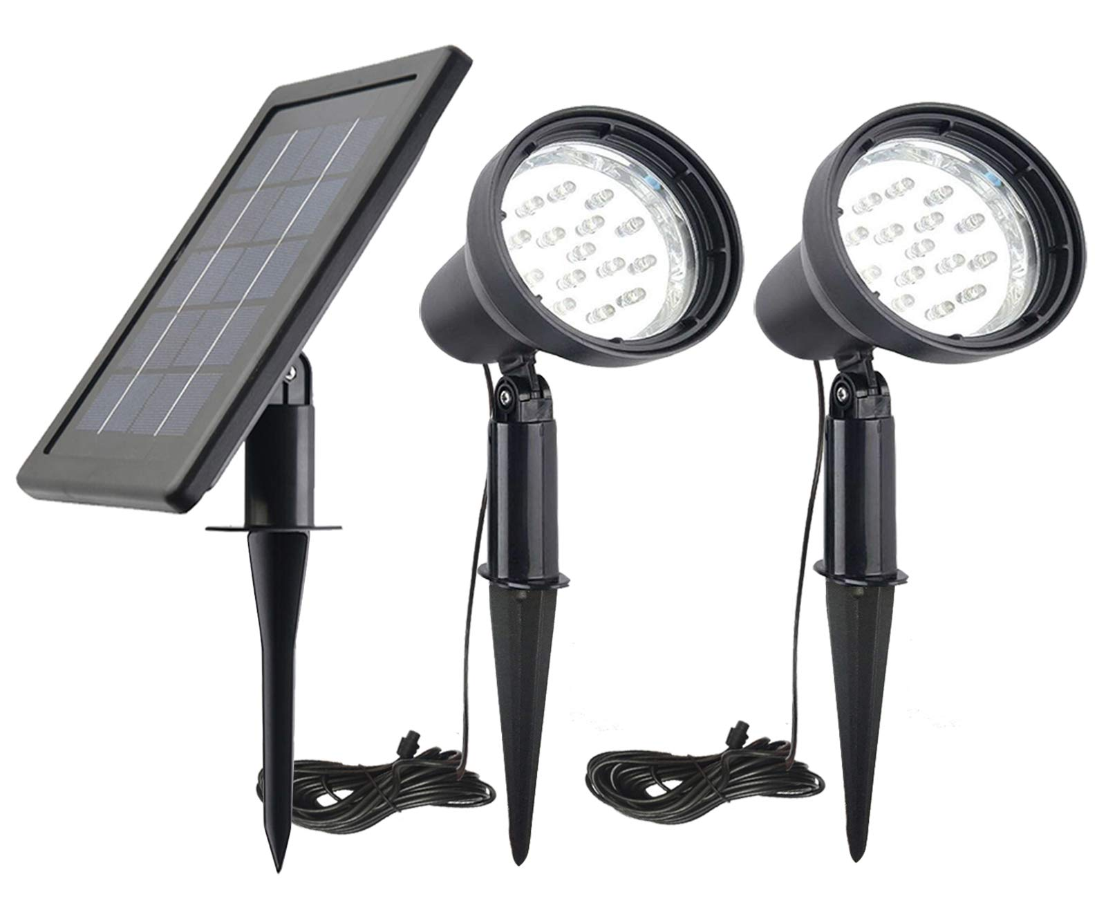 SUNLONG Solar Powered Spot Lights Outdoor Waterproof 2 in 1 Bright Solar SpotLights Power Adjustable for Flag Yard Flagpole Landscape Dusk to Dawn by SUNLONG