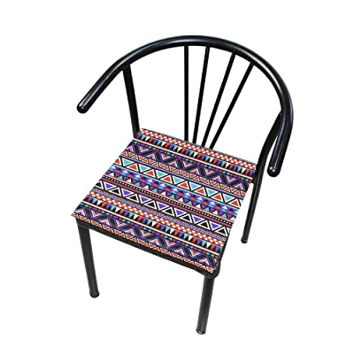 """Bardic HNTGHX Outdoor/Indoor Chair Cushion Tribal Geometric Pattern Square Memory Foam Seat Pads Cushion for Patio Dining, 16"""" x 16"""": Home & Kitchen"""
