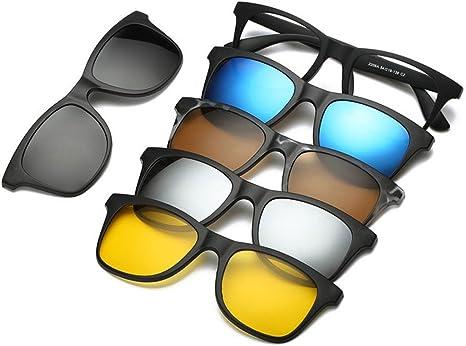 Unisex Polarized Anti-UV Sunglasses Clip On Magnetic Frame Glasses 5 Lenses Gift