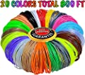 3D Printing Pen Filament Refills ABS 1.75mm Total 800 Feet-Mega Kit/Set of 20 Vivid Colors 40 Feet Each with Individual Packs for 3D Drawing Pens and Printers.Gift for Kids Girls Boys Teens Adults