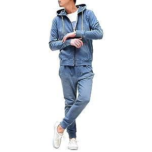 ルービック(RUBIK) セットアップ メンズ パーカー トレーナー ジョガーパンツ スウェット パンツ カットデニム スキニー S ブルー