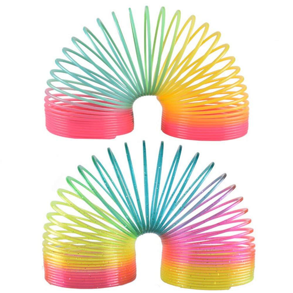 SWECOMZE 2 PCS Farbverlauf Regenbogen Spirale Spielzeug Springs Magic Rainbow Farbigen Frühling Elastischen Kreis Spielzeug für Kinder