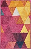 Well Woven Barque Triangles Bright Fuchsia Purple Blue Yellow Vibrant Modern Geometric Area Rug 20×31 (20″ x 31″ Mat) Abstract Triangle Pattern Contemporary Thick Soft Plush For Sale