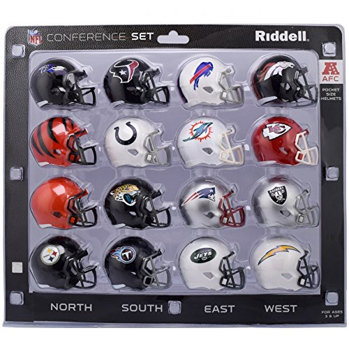 Riddell NFL AFC Conference Pocket Size Helmet Set (16-Piece) 2018 Version