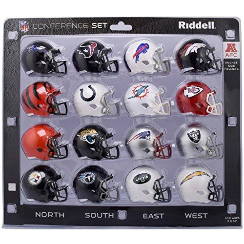 AFC Speed Pocket Pro NFL Mini Helmet Conference Set - 16 Helmets - 2018 Version