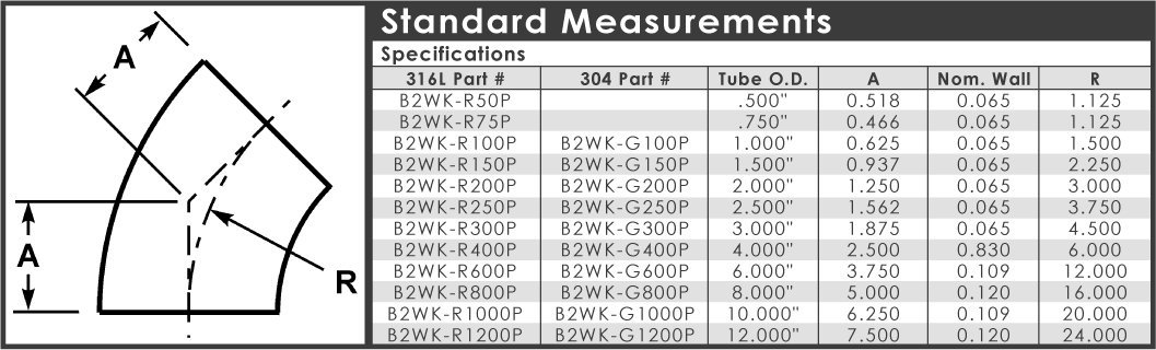 Dixon B2WK-G250P Stainless Steel 304 Sanitary Fitting, 45 Degree Polished Weld Short Elbow, 2-1/2'' Tube OD