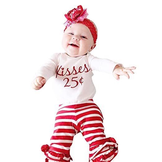 bc6dc4acc4324 GoodLock Baby Boys Girls Fashion Clothes Set Newborn Letter Print Romper  Tops Striped Pants Valentine Outfits
