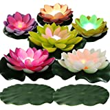 LACGO LED Waterproof Floating Lotus Light Pond Decoration Light Battery Operated Color-Changing Floating Flower Light for Poo