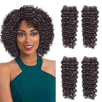 Sleek 4 Bundles Of Short Jerry Curl Weave Human Hair 8 8 10 10 Dark Brown Sew In Hair