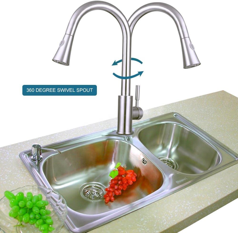 Triple Arbre en acier inoxydable Pull Down robinet de cuisine sans plomb /à levier unique pour robinets de lavabo avec Pull Out Pulv/érisateur