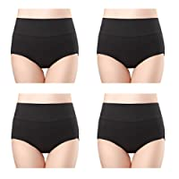 Wirarpa Womens 4-Pack Cotton Underwear Briefs High Waisted Panties Tummy Support
