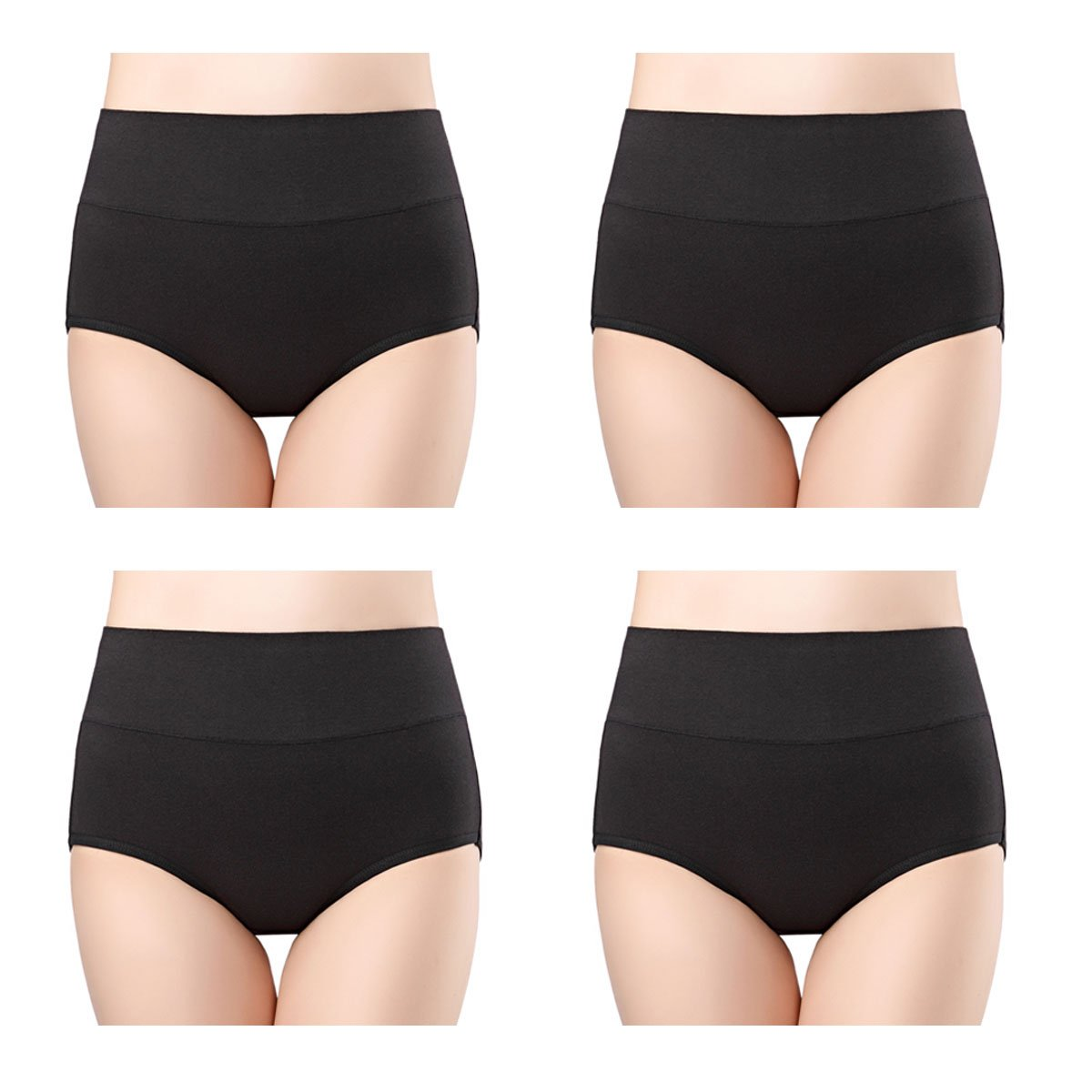 6b4e11034eb9 wirarpa Women's Soft Cotton Knickers High Waisted Full Briefs Panties  Ladies Stretchy Pants Underwear Multipack product